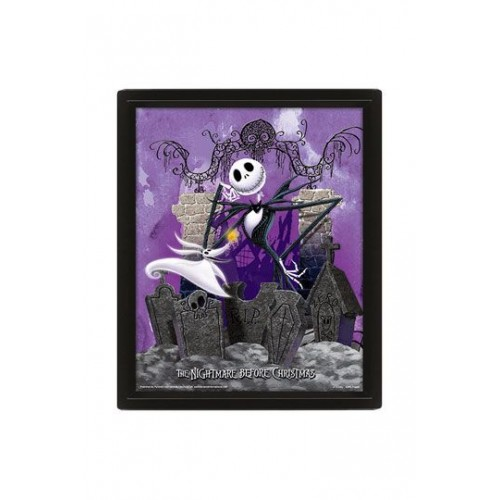 Nightmare before Christmas Framed 3D Lenticular Poster Pack Graveyard